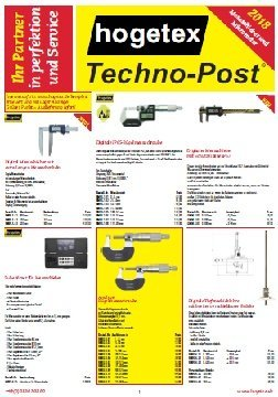 Techno-Post Messschieber und Mikrometer 2018